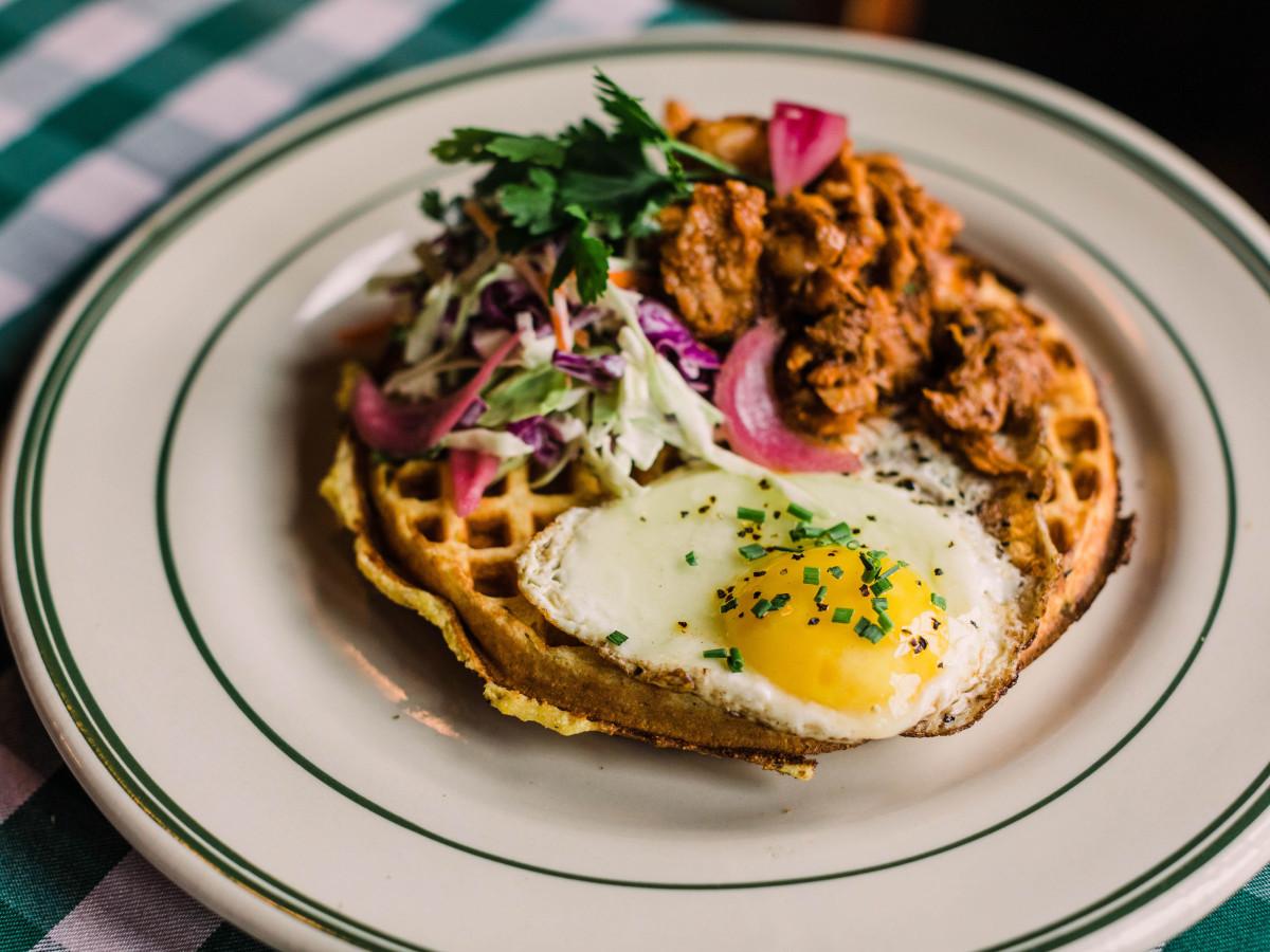Savory cornbread waffle