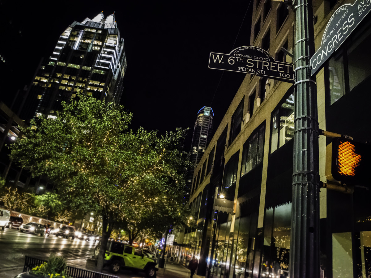 Downtown Austin Sixth Street and Congress Avenue