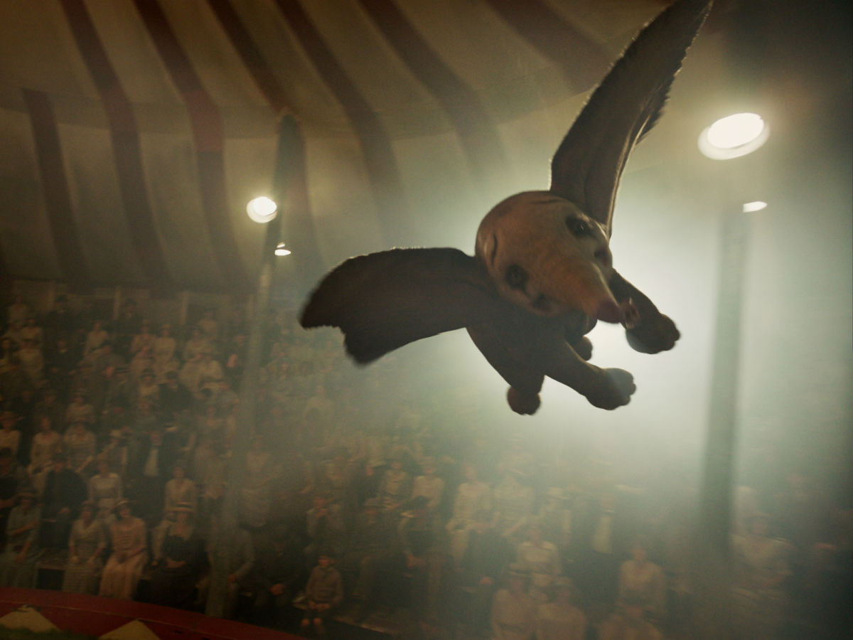 Dumbo flying in Dumbo