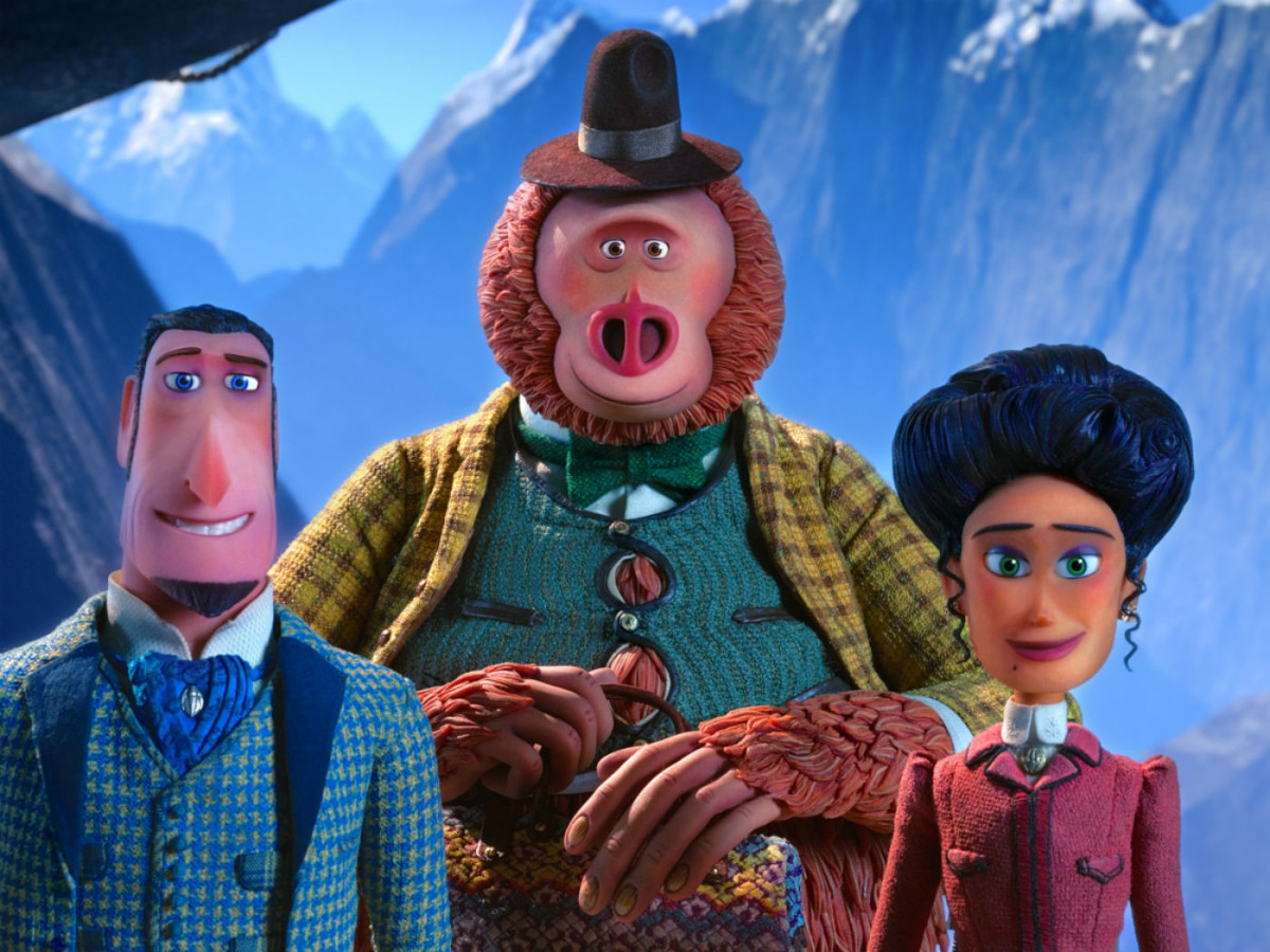Sir Lionel Frost (Hugh Jackman), Link (Zach Galifianakis), and Adeline (Zoe Saldana) in Missing Link
