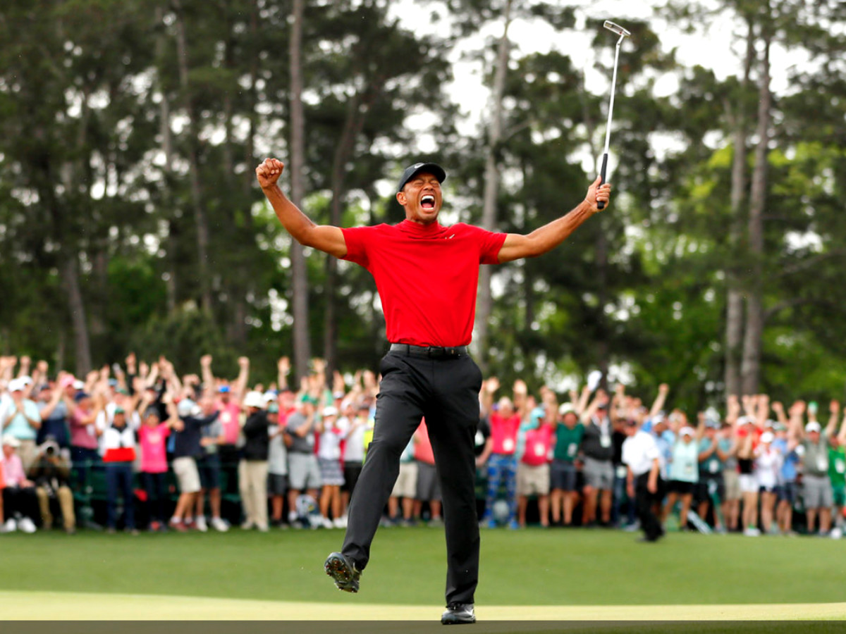 Tiger Woods The Masters celebrating yelling