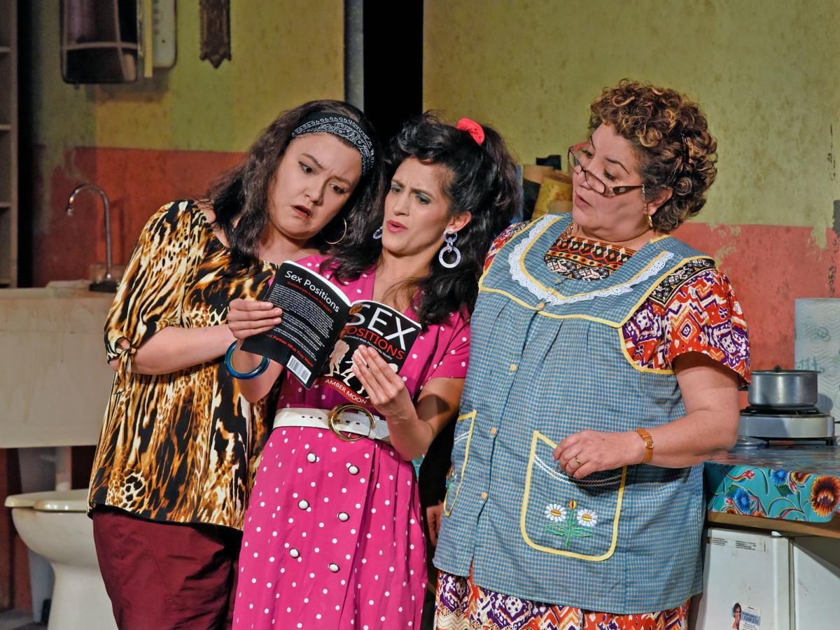 Gloria Vivica Benavides, Vanessa DeSilvio, and Blanca Araceli in Dallas Theater Center's Real Women Have Curves