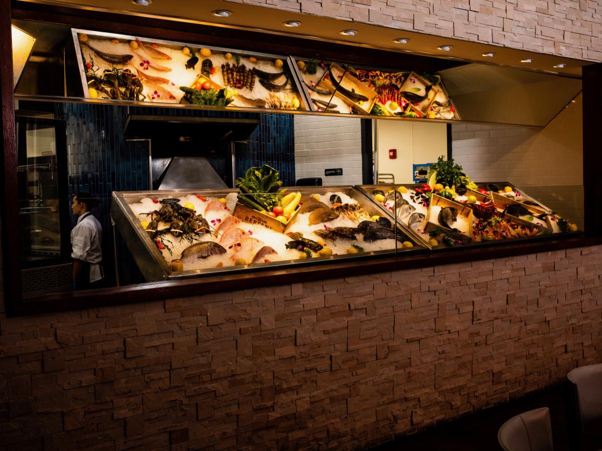 Ouzo Bay seafood display interior