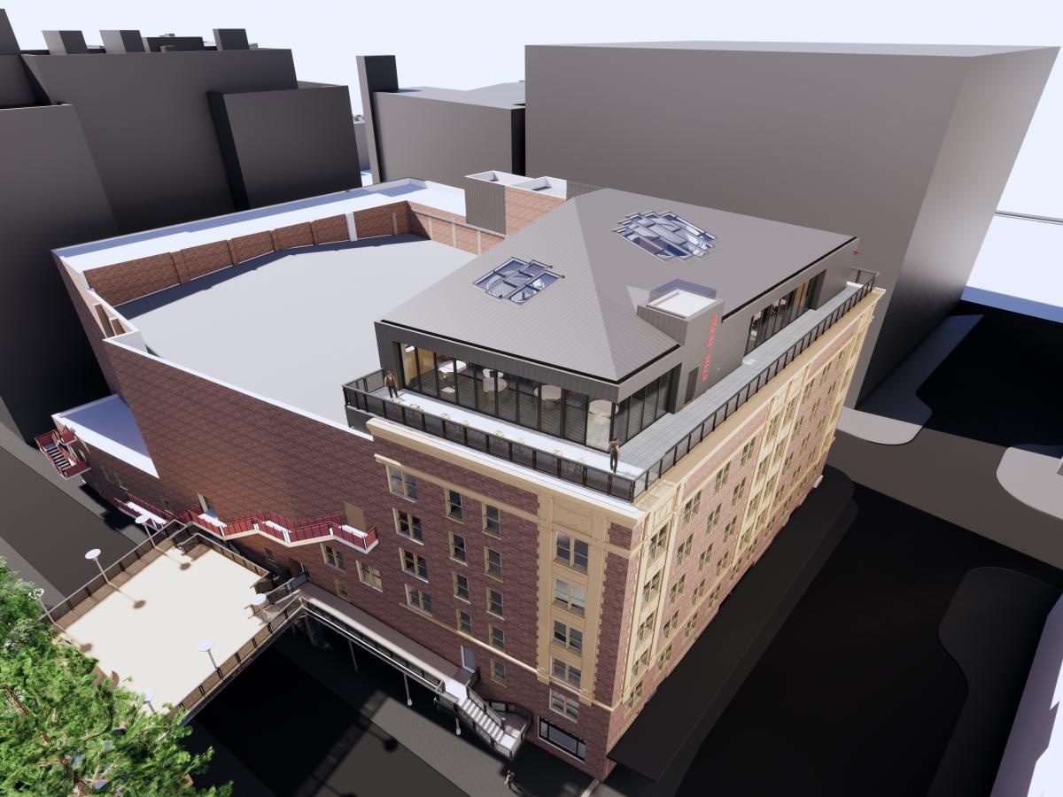 Aztec Theatre rooftop renovation