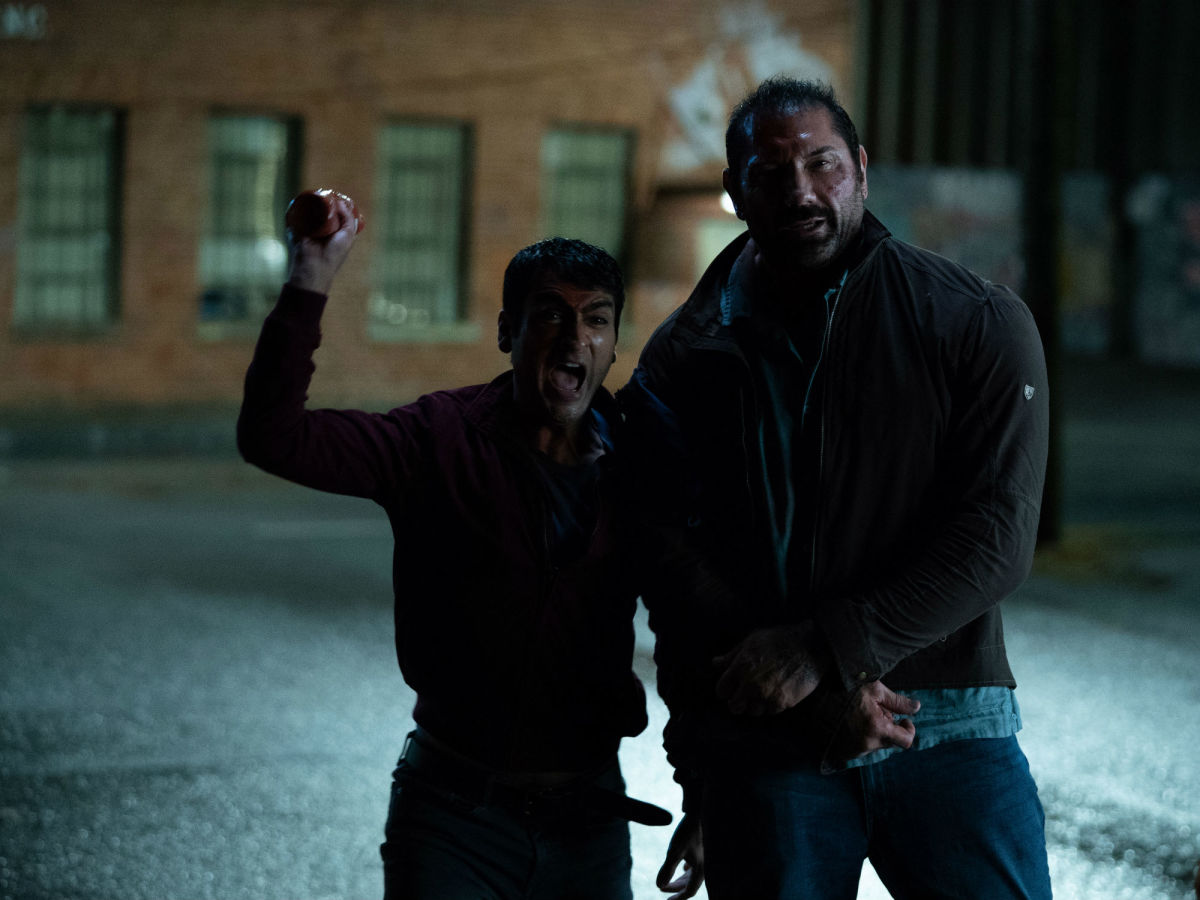 Kumail Nanjiani and Dave Bautista in Stuber
