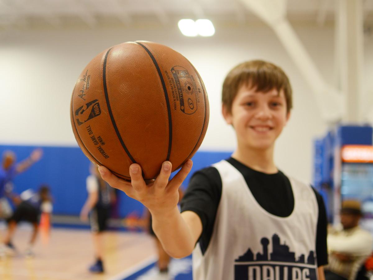 Young boy at Mavs Basketball Camp