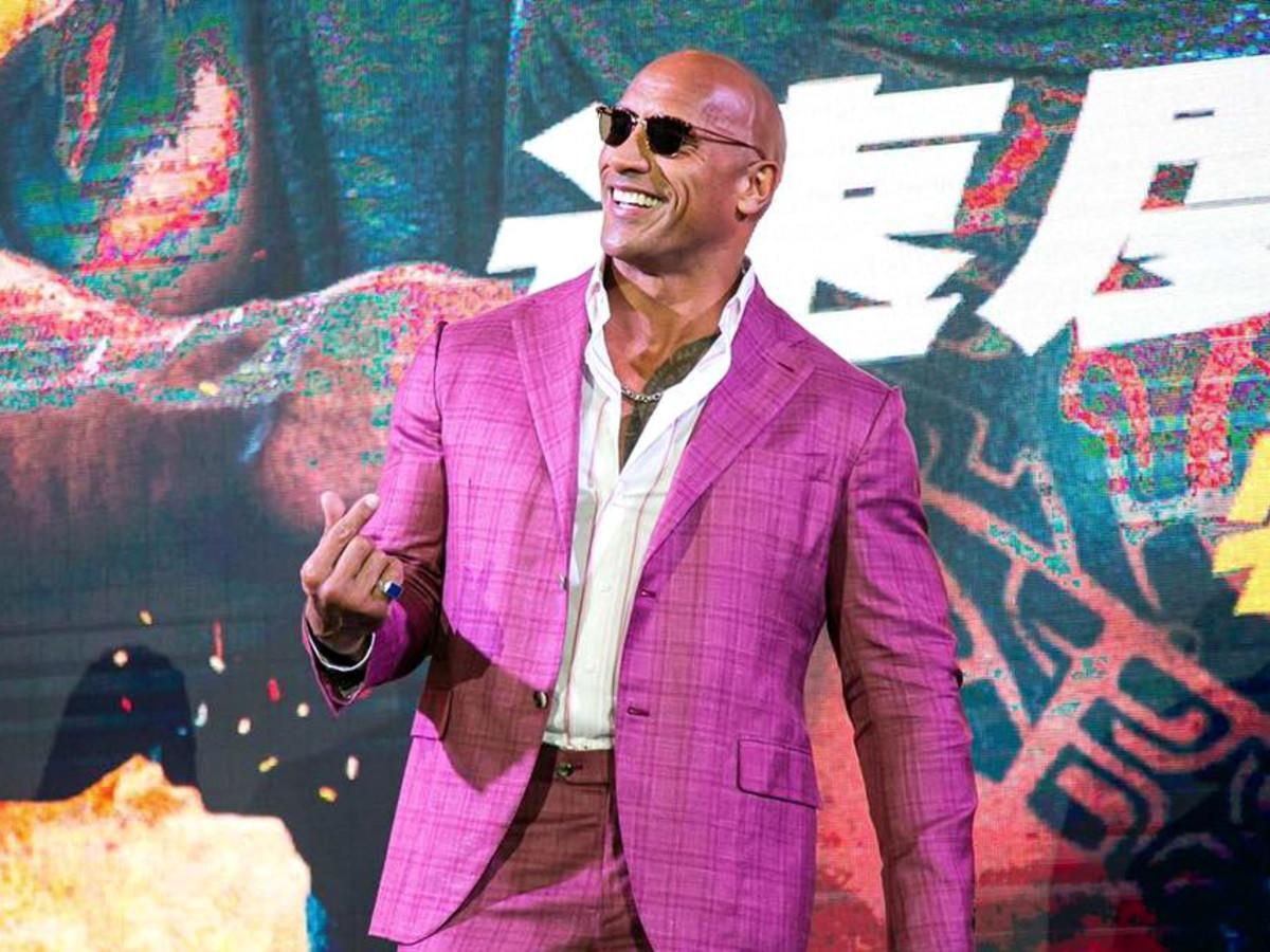 Dwayne Johnson purple suit