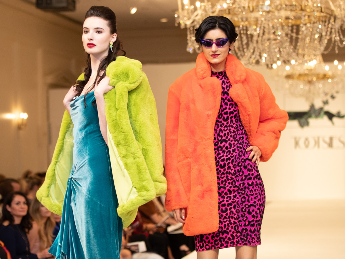 Models Wearing APPARIS Lime Coat, CINQ A Sept Teal Velvet Gown, APPARIS orange Coat, MILLY Pink Leopard Dress
