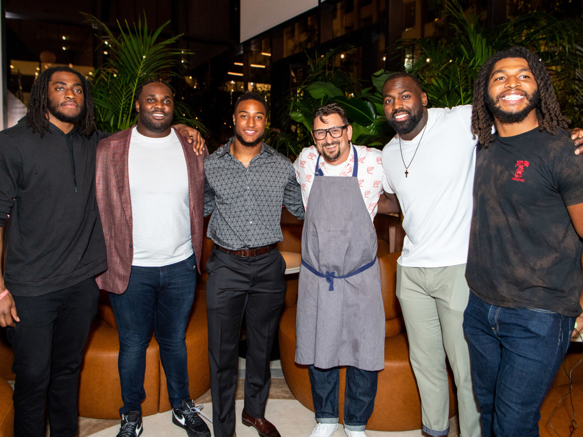 C. Baldwin grand opening 2019 Duke Ejiofor, DJ Reader, Justin Reid, Chris Cosentino, Whitney Mercilus, Peter Kalambayi