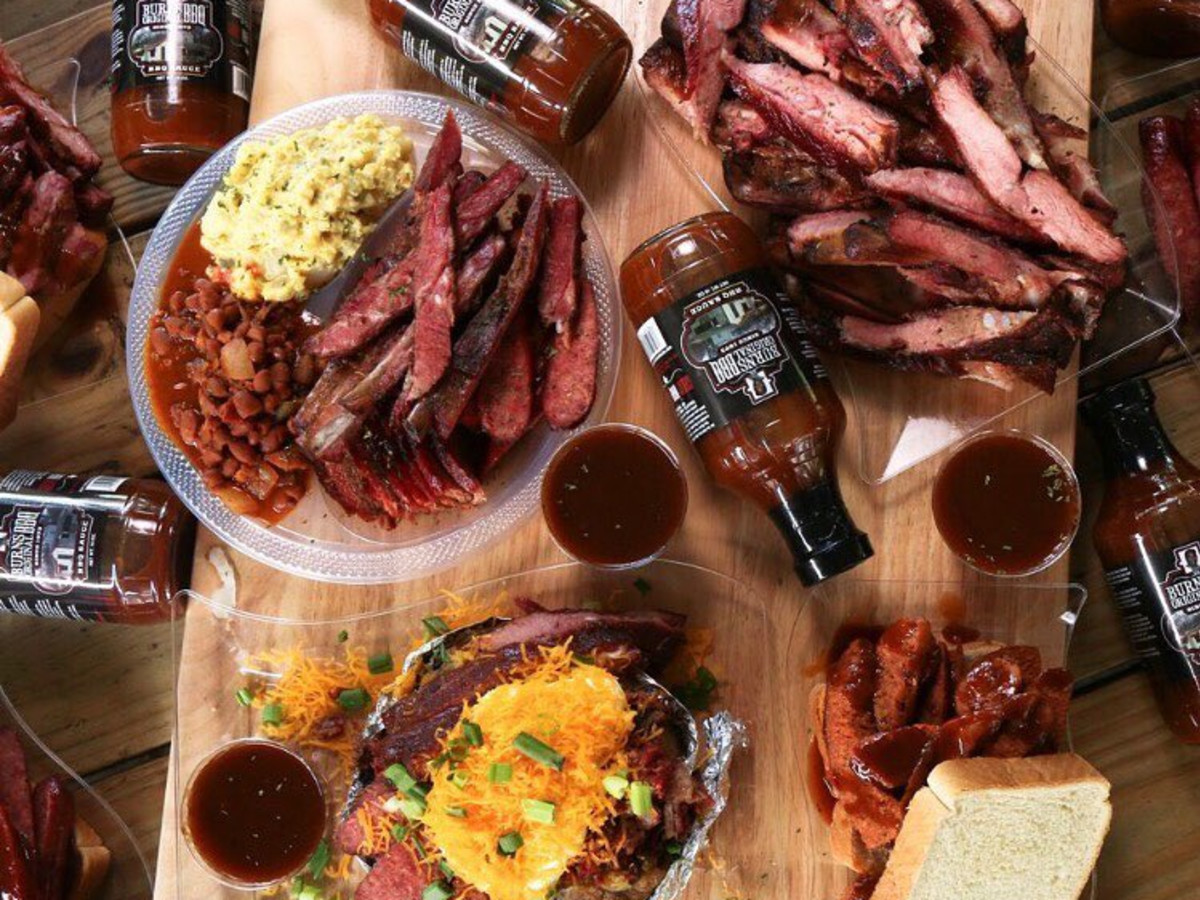 Burns Original BBQ catering spread
