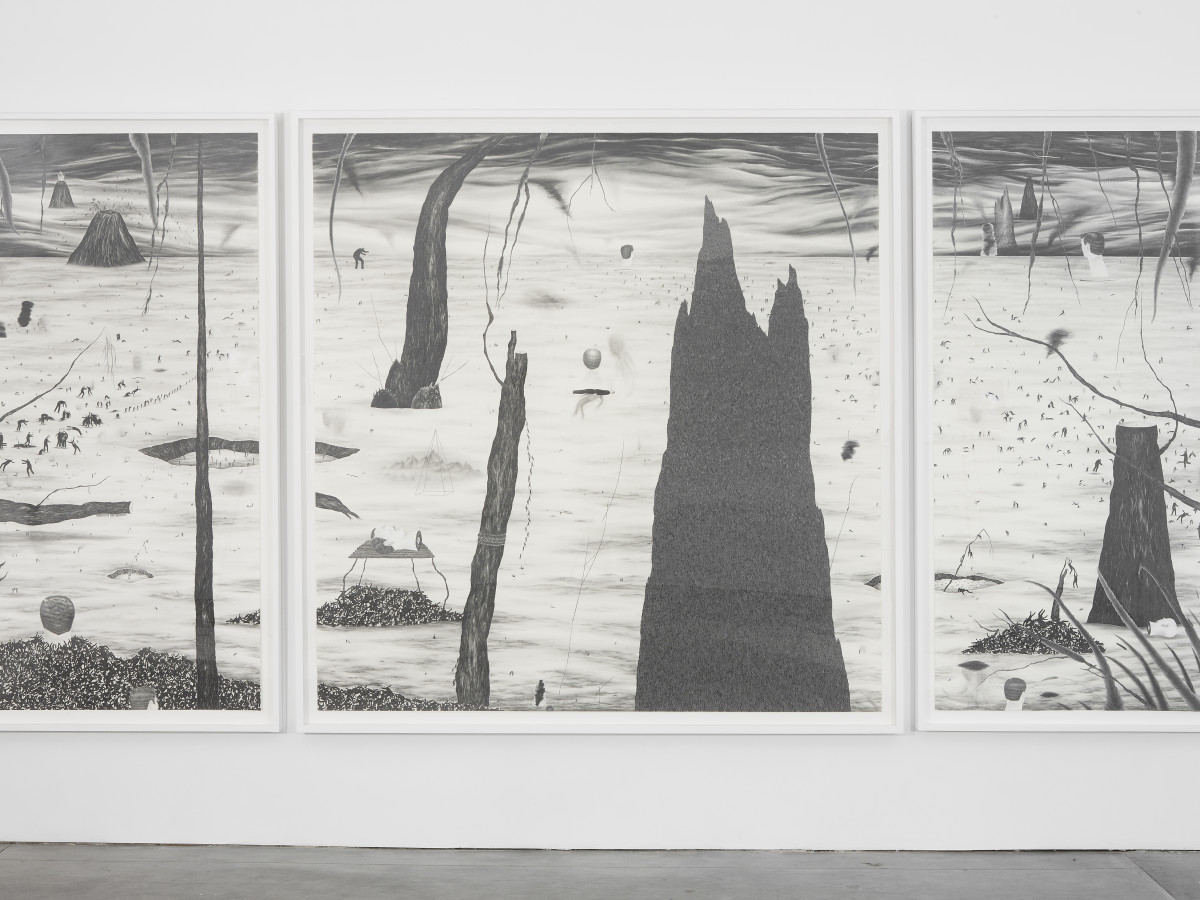Robyn O'Neil, HELL, 2011. Graphite on paper. 83 5/8 × 172 1/2 inches