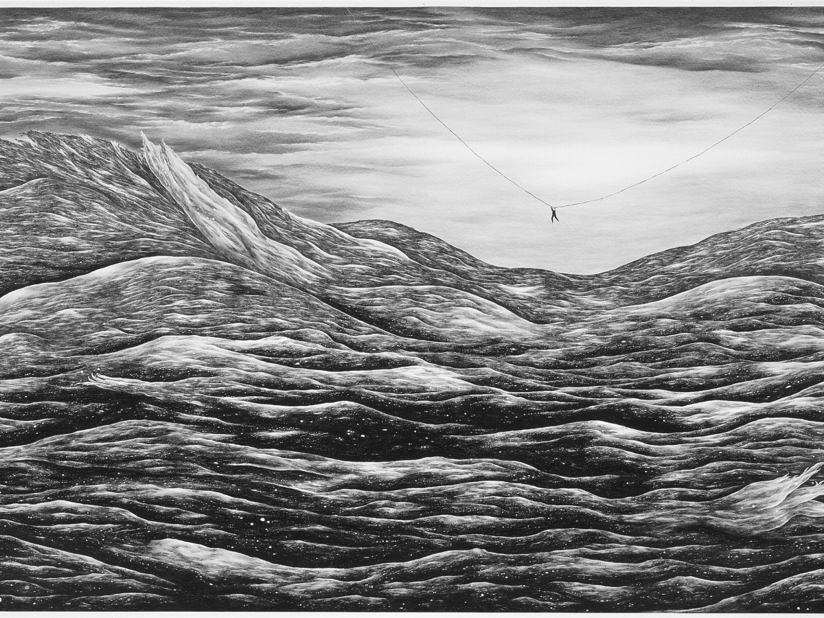 Robyn O'Neil, These final hours embrace at last; this is our ending, this is our past., 2007. Graphite on paper. 83 × 166 3/4 inches