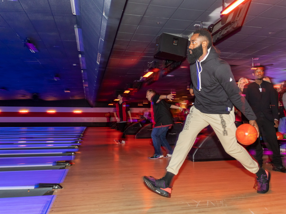 Clint Capela bowling bash 2019 James Harden bowling