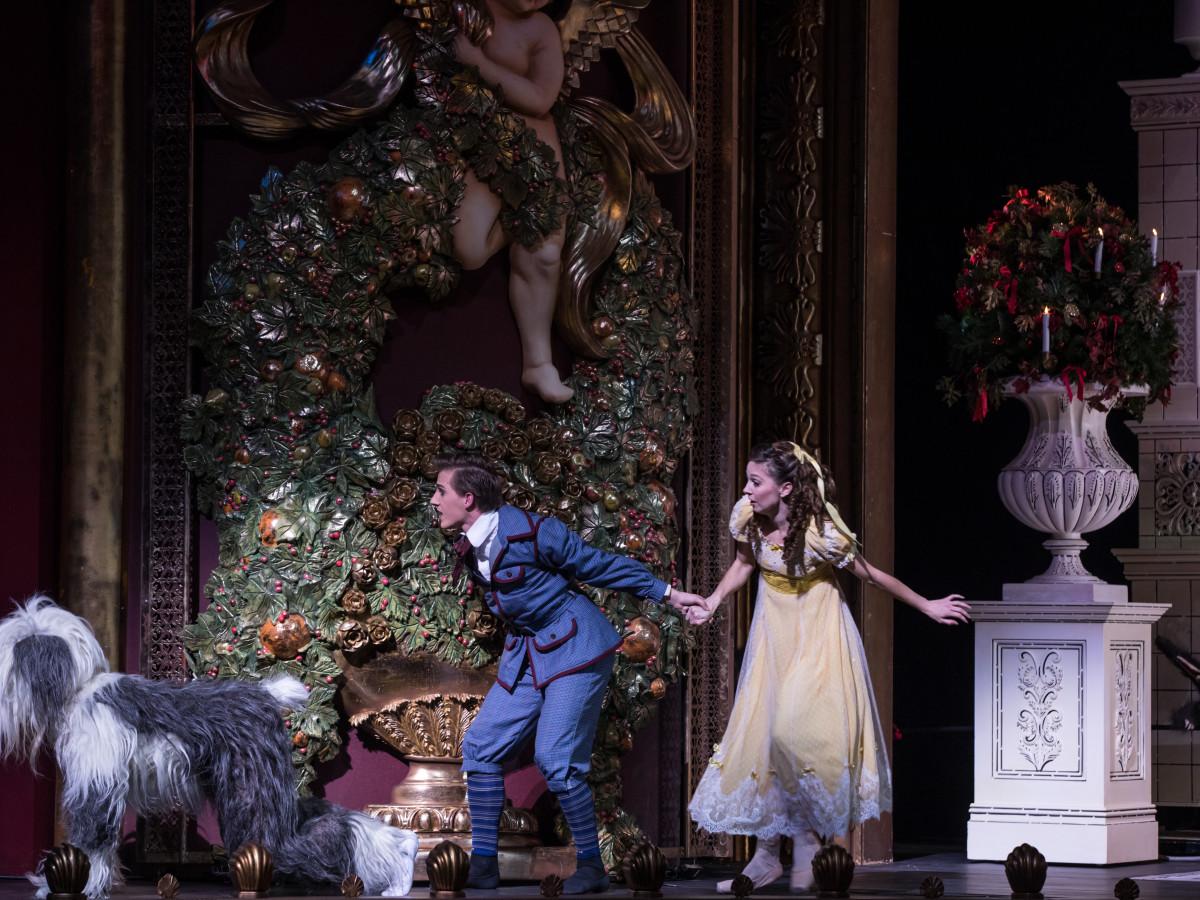Houston Ballet Principal Melody Mennite and Soloist Hayden Stark as Fritz with Jack Wolff as Heinz in Stanton Welch's The Nutcracker