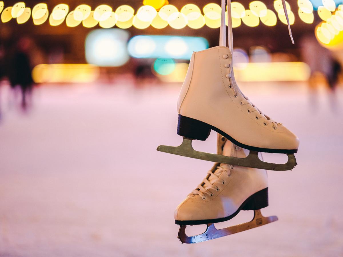 ice skates on an ice rink