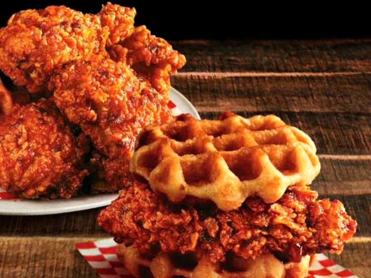 Drive-Thru Gourmet Nashville Hot Chicken & Waffles Sandwich