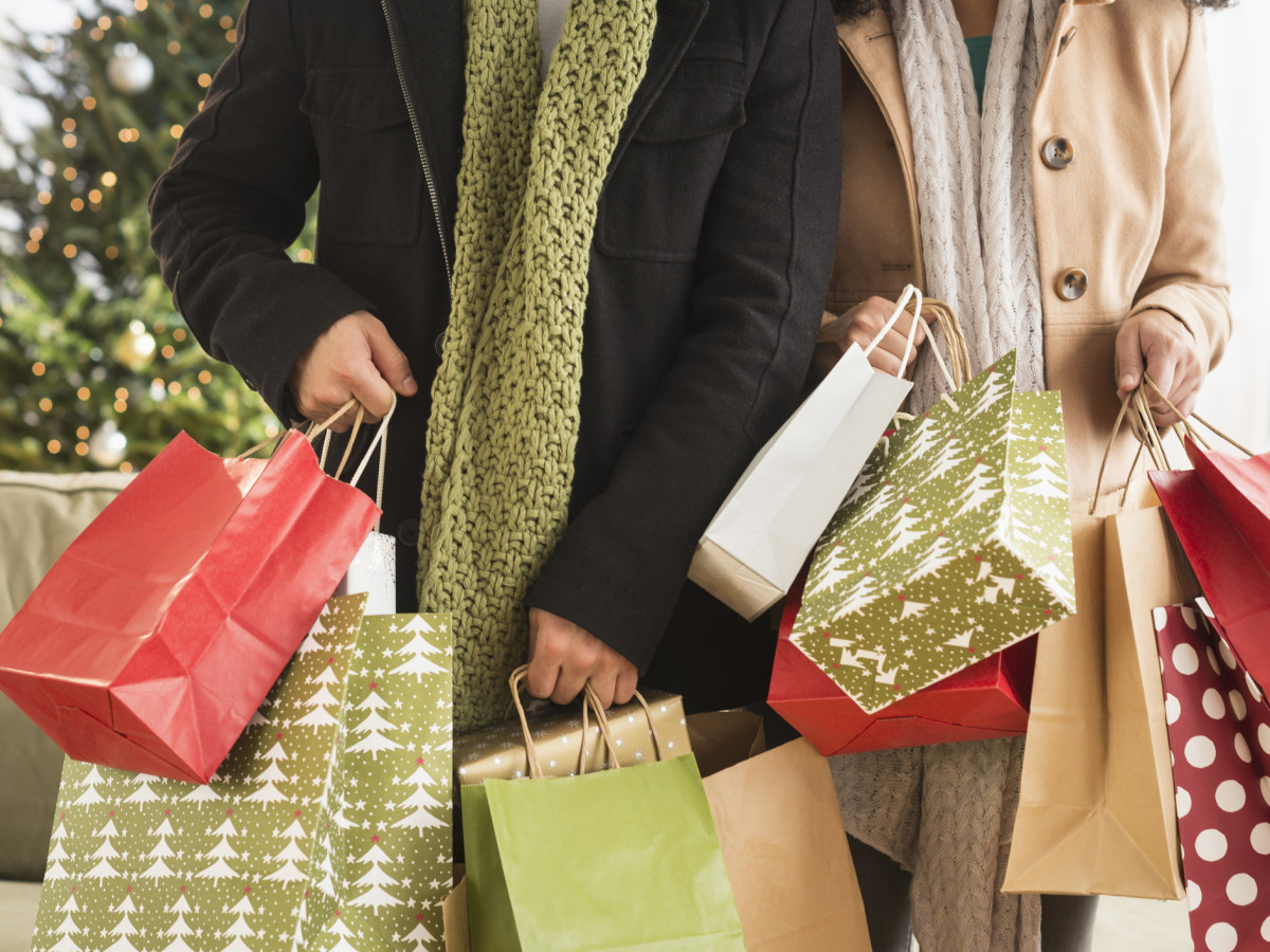 Couple with Christmas presents holiday shopping