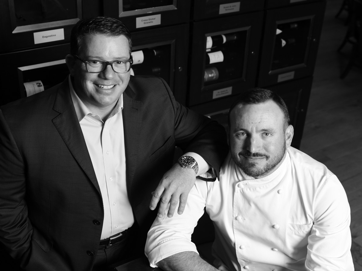 L.	Houstonian Hotel general manager Steve Fronterhouse with Houstonian executive chef Neal Cox