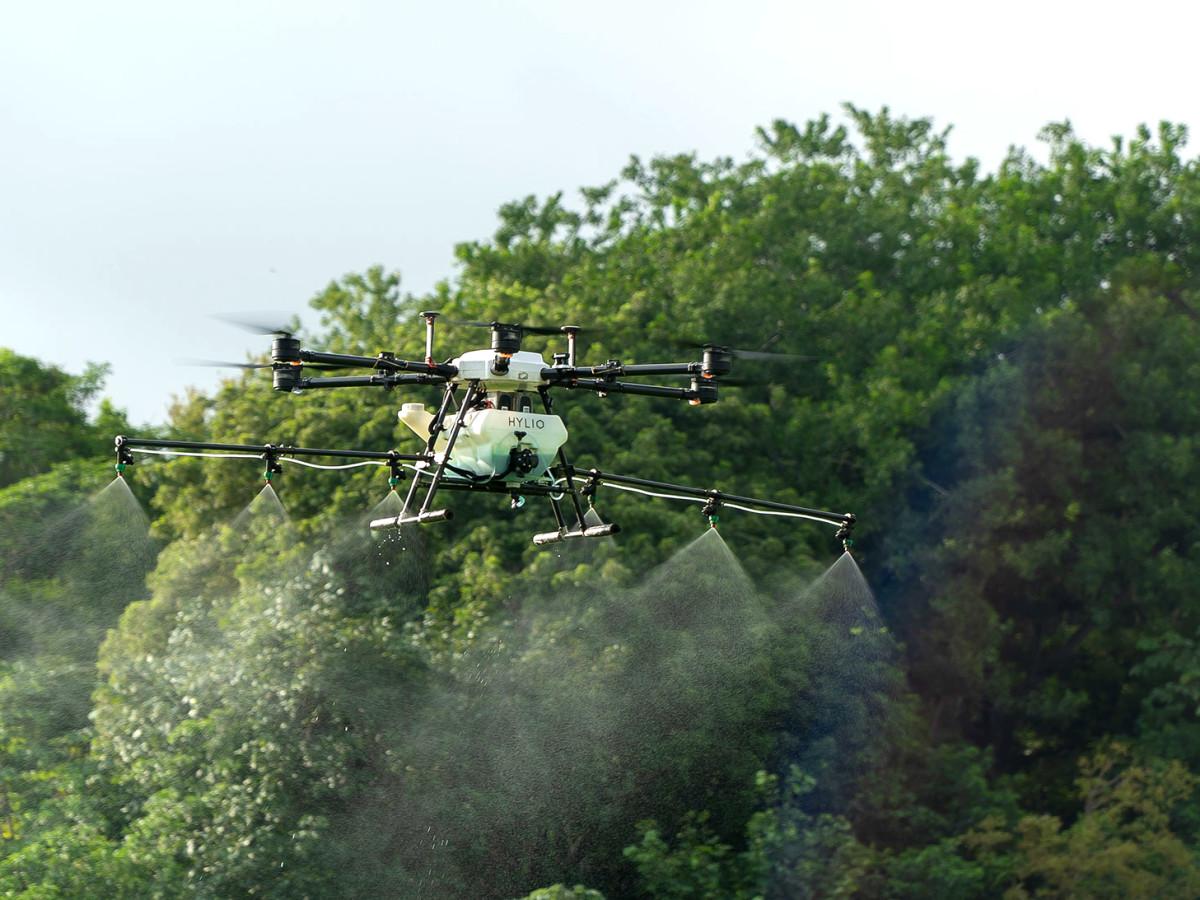 Hylio drone spraying