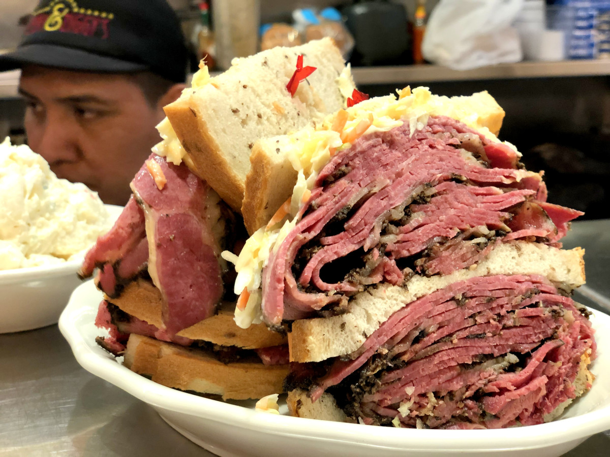 Kenny & Ziggy's triple decker pastrami sandwich