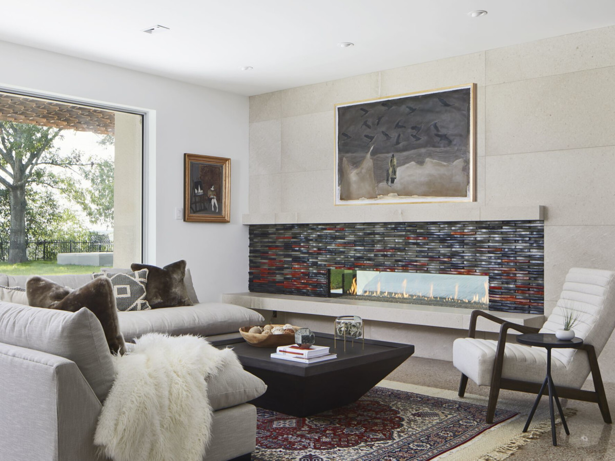 CG&S Concrete Remodel: living room and fireplace