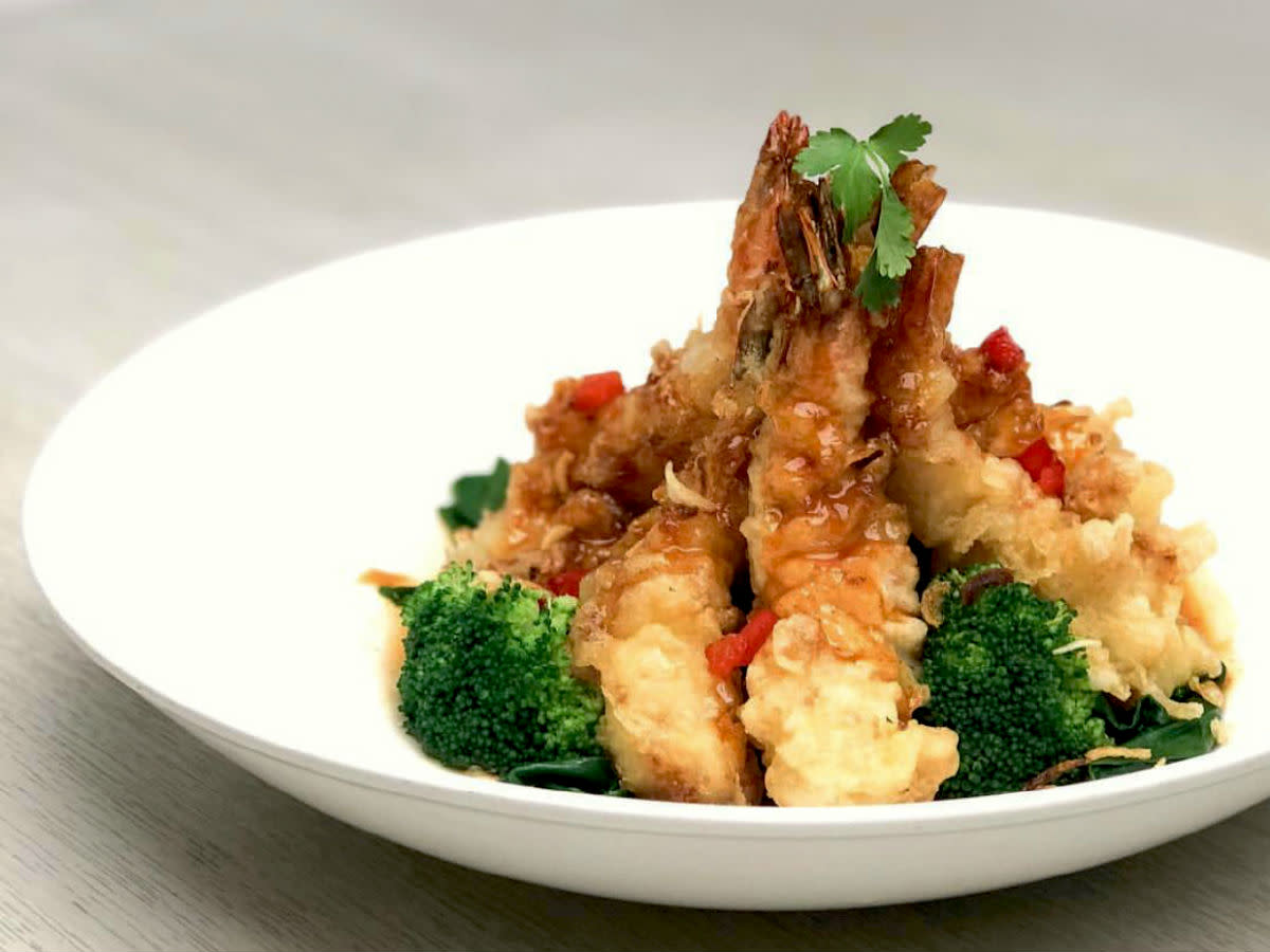 Asian Mint tamarind shrimp