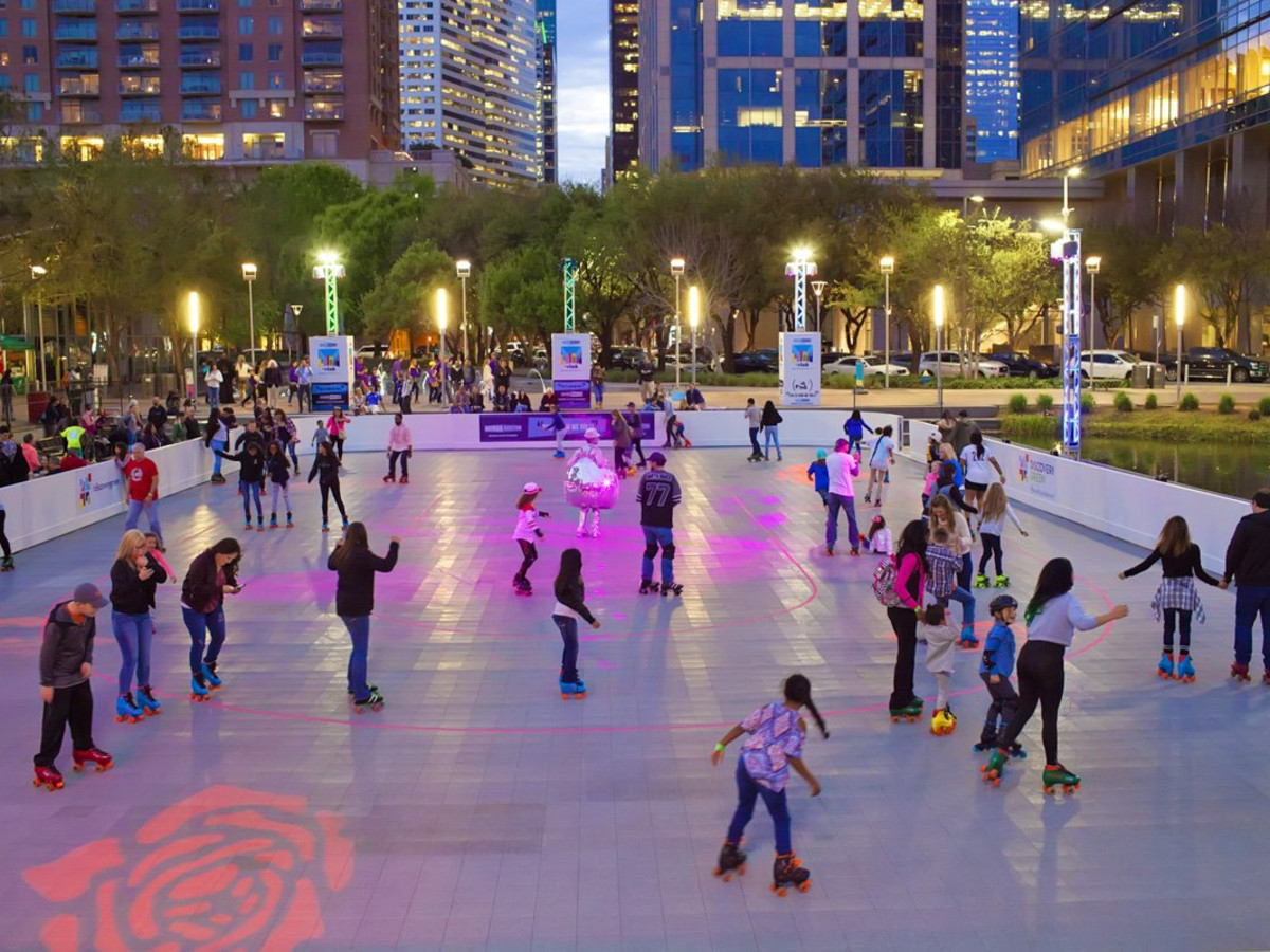 Discovery Green roller rink roller skating
