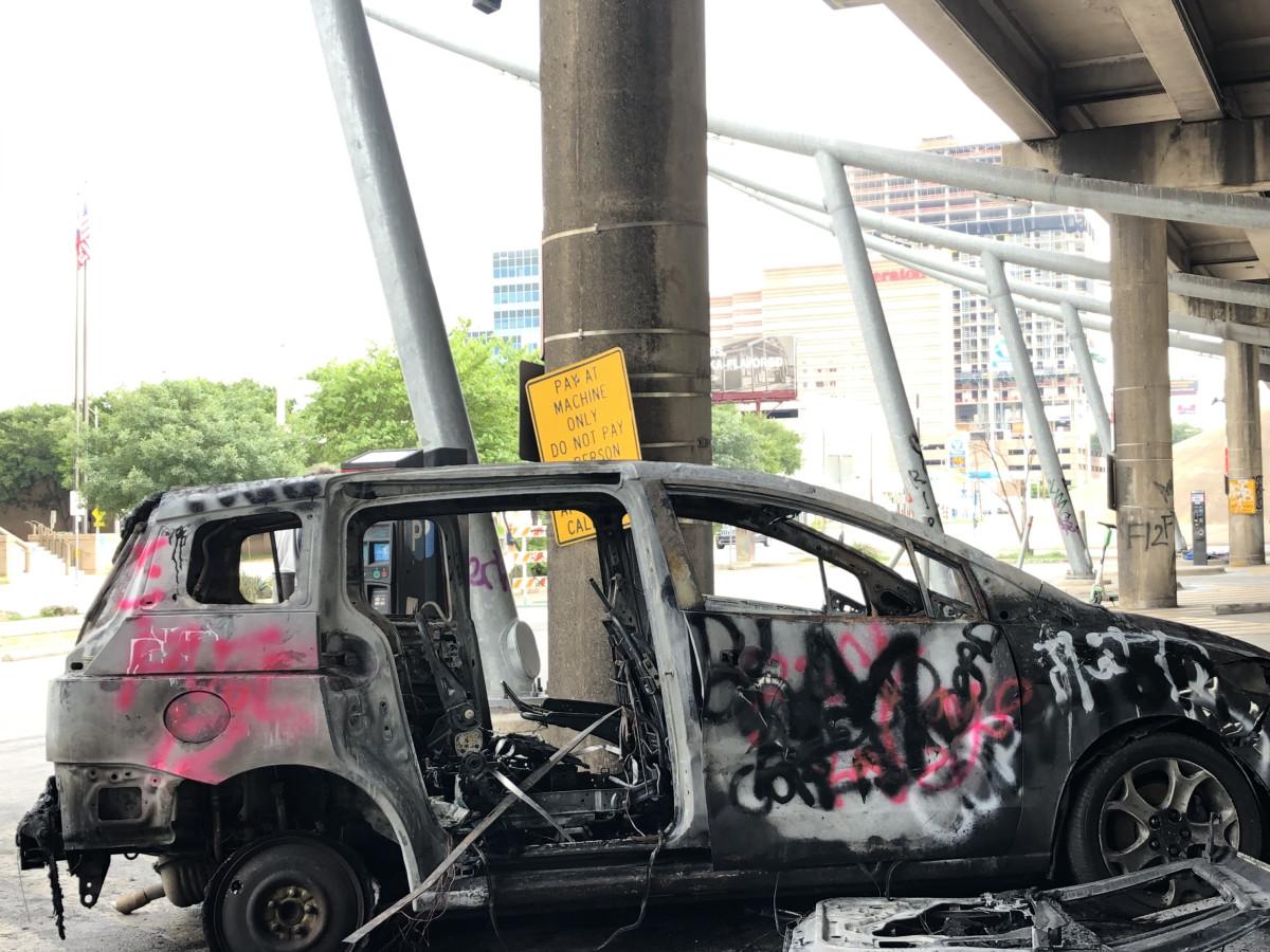 Austin protests burned car sunday morning