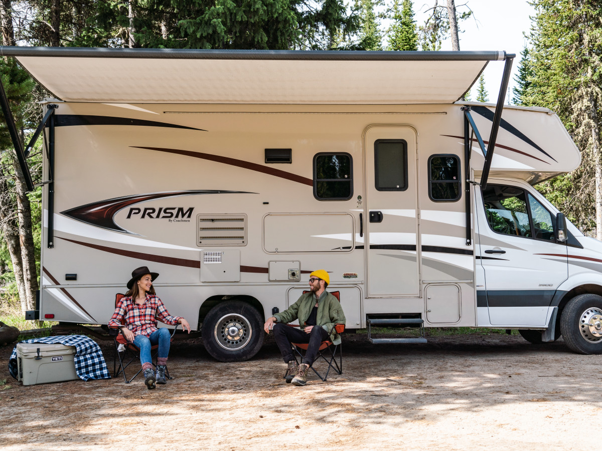 Man and woman with RV
