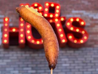 Luschers Red Hots corn dog