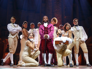 Chris De'Sean Lee and cast of Hamilton, Chicago company