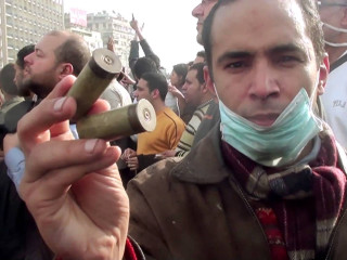 film Uprising with protester during Egyptian Revolution