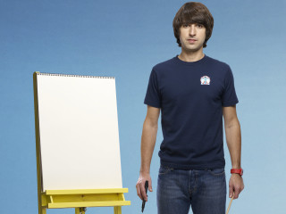 comedian Demetri Martin with giant sketchpad