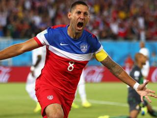 US men's national soccer team Clint Dempsey celebrating goal against Ghana in World Cup 2014