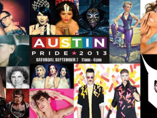 Austin Pride Festival banner with lineup LGBT