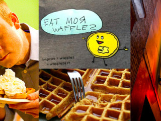 collage for Wafflefest at hideout theatre