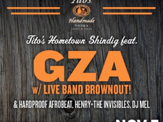 flyer for Tito's Hometown Shindig featuring GZA