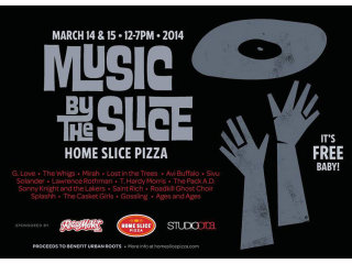Music by the Slice 2014 poster at Home Slice Pizza