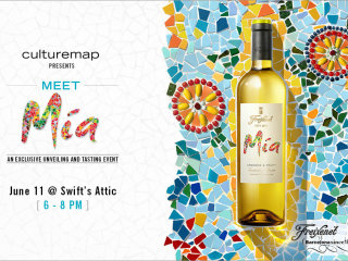 poster for CultureMap event Meet Mia wine at Swift's Attic