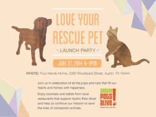 poster for Austin Pets Alive! love your rescue pet day launch party