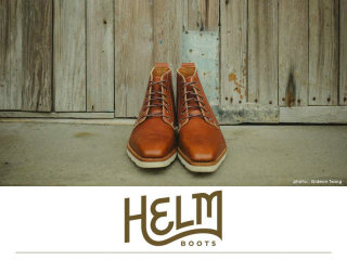 pair of HELM Boots for trunk show