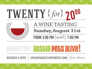 20 wines for $20 benefit for Austin Pets Alive!
