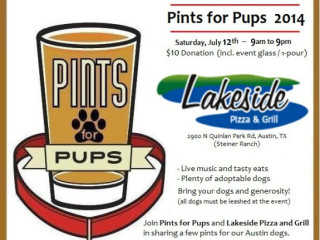 poster for Pints for Pups austin fundraiser at Lakeside pizza and grill