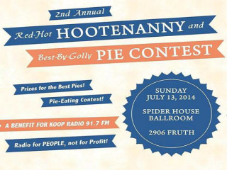poster for KOOP fm second annual red-hot hootenanny and pie contest_july 2014