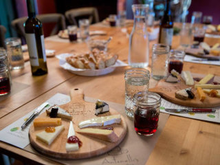 cheese plates and drinks at Antonelli's Cheese Shop