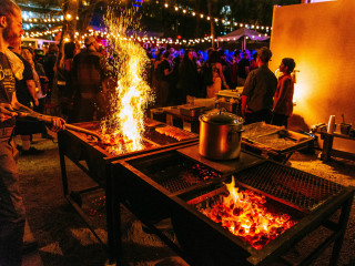 Banger's Sausage House and Beer Garden Austin restaurant Rainey Street smokeout patio 2015