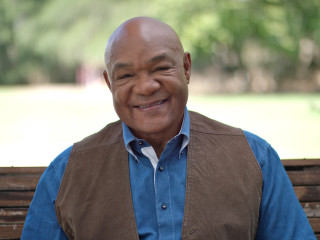 Houston, George Foreman Butcher Shop, George Foreman close up, July 2015