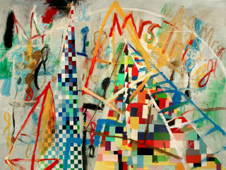 "Roberta Harris, ""Mr & Mrs Triangle,"" 2012, oil & mixed media on Canvas, 72' x 84"""