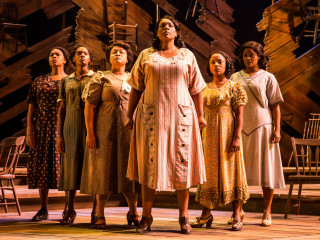 Carrie Compere (Sofia) and the North American tour cast of The Color Purple