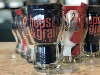 Hops & Grain pint glass